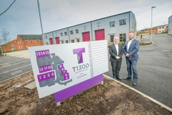 Martin Gallagher from Deeley Construction (left) with Mark Edwards from AC Lloyd Commercial at the development in Warwick