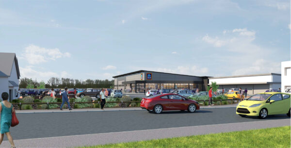 A CGI of the new Aldi store at Teal Park in Nottingham